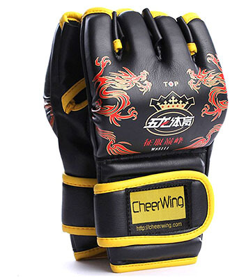 Cheerwing Half Finger MMA UFC Boxing Mitts Leather Gloves