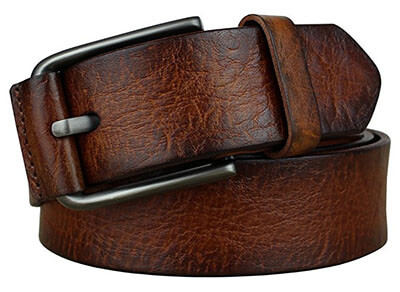 Bullko Men's Pin Buckle Casual Leather Belt