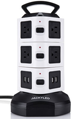 JACKYLED 3000W Wire Extension Surge Protector Universal Socket, 10 Outlet Plug