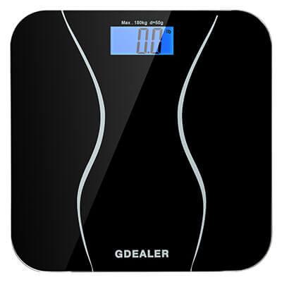 GDEALER Digital Bathroom Scale, 400 Pounds, Tempered Glass