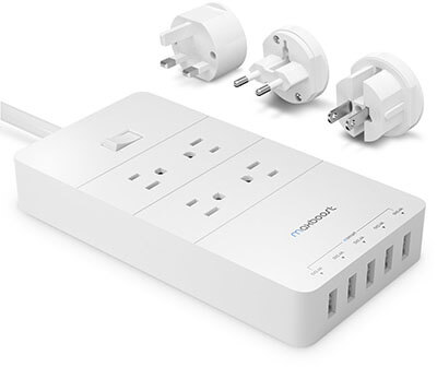 Maxboost Power Strip International Travel Adapter Kit, 4-Outlet, 5-USB 8A Smart Ports