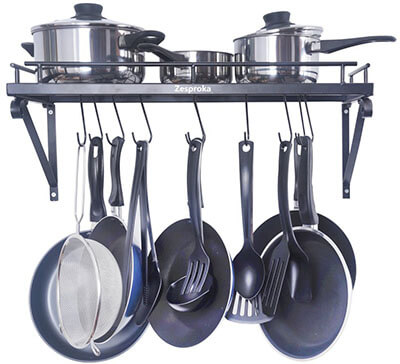ZESPROKA Kitchen Wall Pot Pan Rack, 10 Hooks