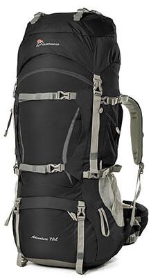 Mountaintop Internal Frame Hiking Backpacking Bag, 70L+10L