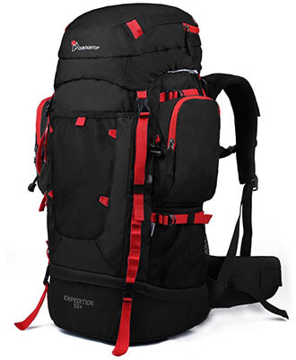 Mountaintop 55L/70L+10L Hiking Backpacking Trekking Bag - Rain Cover