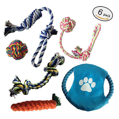 E-sport Durable Dog Chew Toys, 6 Interactive Toys