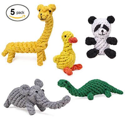 HC-RET Dog Toys, Animal Design Cotton Rope Chew and Training Toys