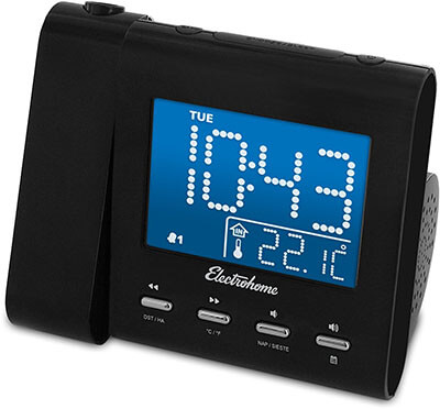Electrohome EAAC601 Projection Alarm Clock, FM Radio