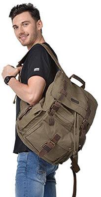 Kattee Men's Leather Canvas Backpack Travel Rucksack
