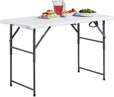 VonHaus 4-feet Folding Table, Adjustable Height
