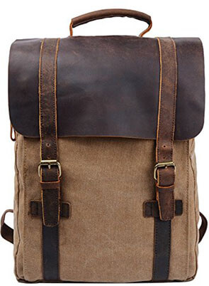 S-ZONE Retro Canvas Leather Backpack Rucksack