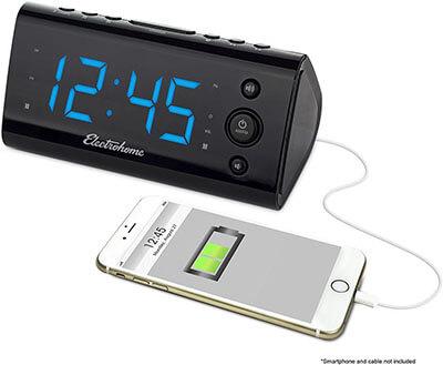 Electrohome Alarm Clock Radio, USB Charging Port, Dual Alarm