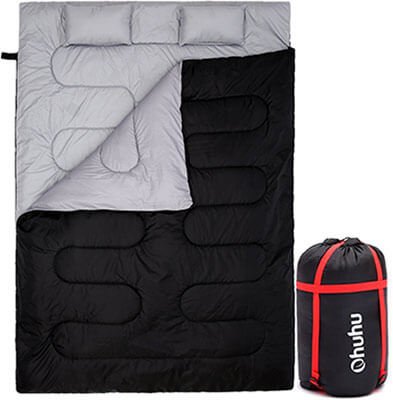 Ohuhu Double Sleeping Bag for Camping, 2 Pillows