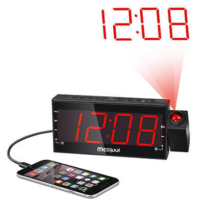 Mesqool AM/FM Digital Alarm Clock Radio, Dimmable Projection