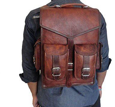 Handmade_World 15-inch Brown Vintage Unisex Leather Backpack