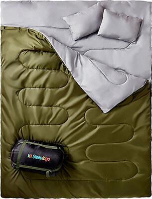 Sleepingo Double Sleeping Bag, Queen Size XL!, Waterproof