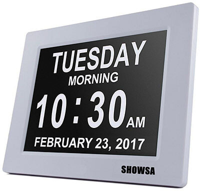 SHOWSA 5 Alarm Options Day Clock, 8 inch LCD Screen