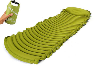 Holleyweb X-wide Inflatable Camping Pad Inbuilt Pillow