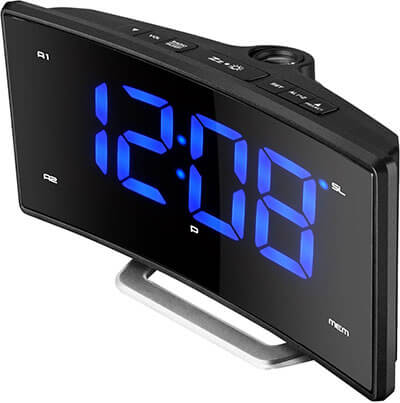 Pictek FM Projection Alarm Clock with Curved Screen