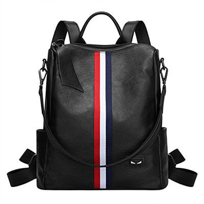 S-ZONE Lightweight Genuine Leather Backpack for Women