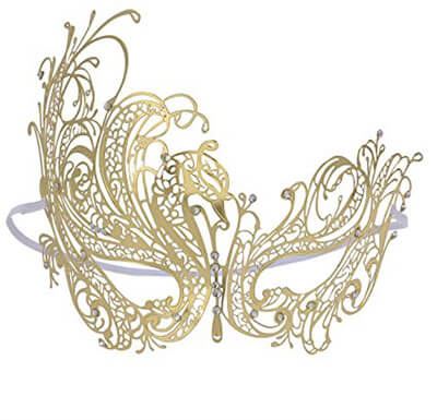 Coxeer Women's Swan Venetian Masquerade Mask Metal Filigree Mask