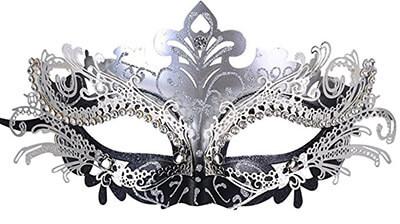 Coxeer Shiny Metal Rhinestone Masquerade Mask