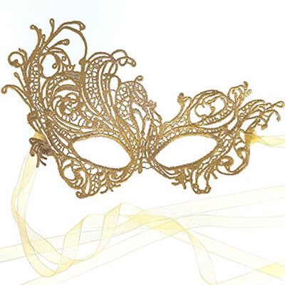 Samantha Peach Gold All Lace Renaissance Gorgeous Masquerade Mask