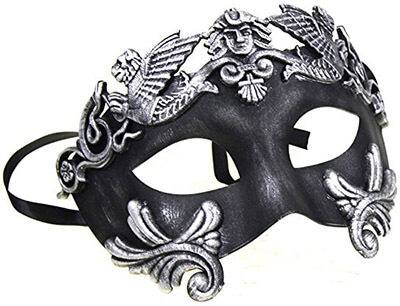 Black Feather & Silver Face Women Mask Masquerade Mask
