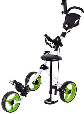 Tangkula Push Pull Cart Golf Trolley Swivel 3- Wheel Design