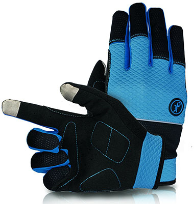 Kupeers Blue and Black Unisex Full Cycling Gloves
