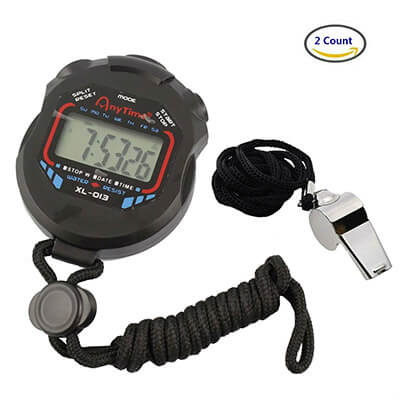 AKOAK Digital Stopwatch Timer with Stainless Steel Whistle