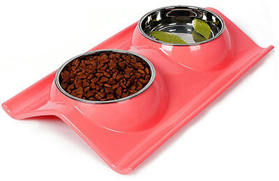 Petloverr Double Bowls Stainless Steel Pet Bowls