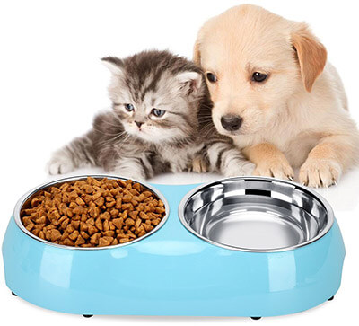 Luase Pet Bowl Food Water Stainless Steel Dish