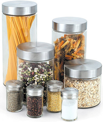 Cook N Home Canister and Spice Glass Jar Set