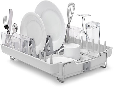 OXO Good Grips Foldaway & Convertible Dish Rack, Stainless Steel