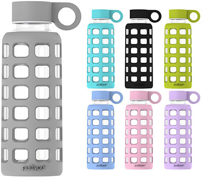 Purifyou Premium Glass Water Bottle with Stainless Steel Lid Insert