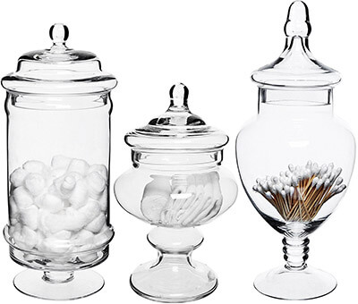 MyGift 3 Piece Deluxe Apothecary Jar Sets