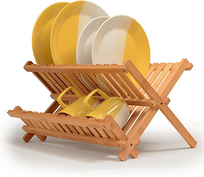 Bambüsi 100% All Natural Premium Bamboo Dish Drying Rack