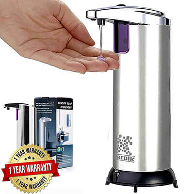PerPik Stainless Steel Hands-Free Automatic Touchless Soap Dispenser