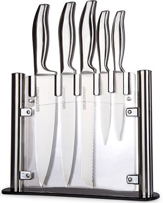 MEGALOWMART Professional Stainless Steel Kitchen Knife Set with Acrylic Stand