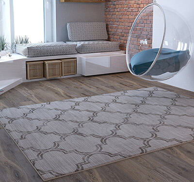 Home Way Geometric Traditional Distressed Living Room Rug