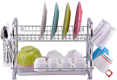Toplife Chrome Kitchen Dish Drainer Drying Rack, 2 Tie Design