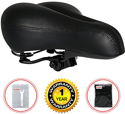 VICKMALL Gel Bike Seat Saddle, Leather, Dual Spring Universal Seat