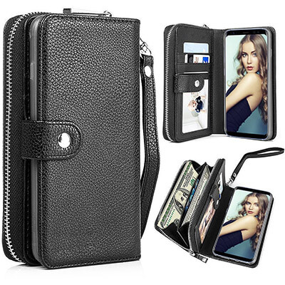 Pasonomi Magnetic Detachable Removable Wallet Zipper PU Leather Folio Flip Carrying Case,for Samsung Galaxy Note 8 2019