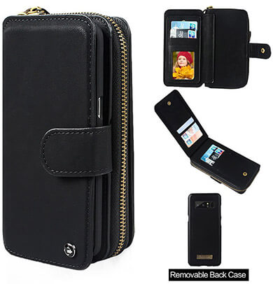 Cornmi Galaxy Note 8 Leather Wallet Case with Wrist Strap & Mirror Zipper