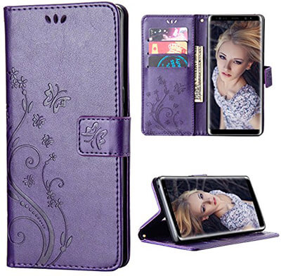 FLYEE Galaxy Note 8 Case, Flip Case Wallet Leather Emboss Butterfly Flower Folio Magnetic Protective Cover