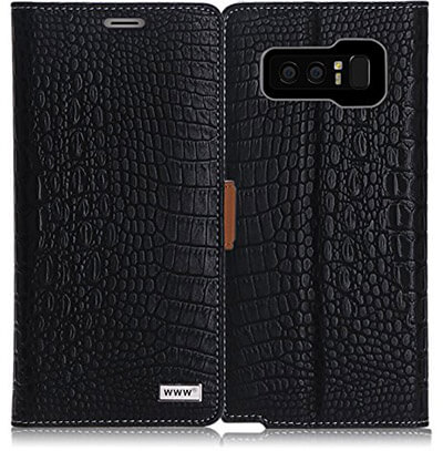 WWW Samsung Galaxy Note 8 case, Crocodile Pattern Premium PU Leather Wallet