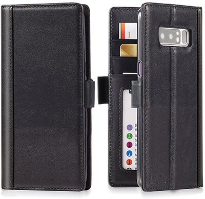 iPulse Journal Series Italian Full Grain Leather Handmade Wallet Case for Galaxy Note 8