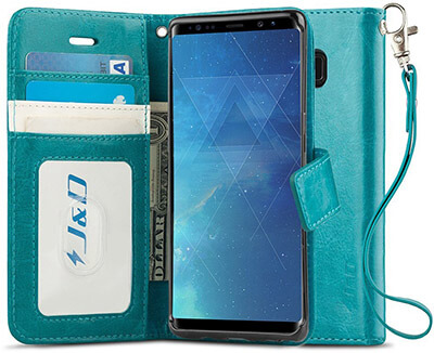 JD Galaxy Note 8 Case, with RFID Blocking Wallet and Slim Fit Style