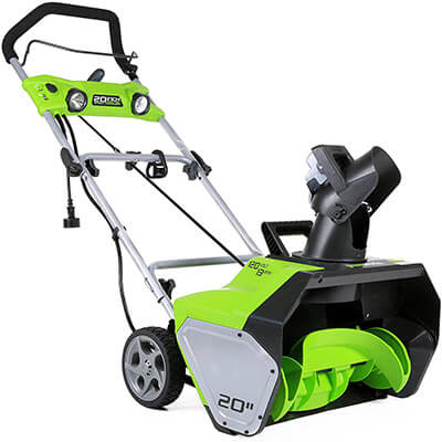 GreenWorks 2600202 20 Inches Corded Snow Thrower, 13 Amp with Light Kit