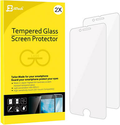 JETech iPhone 8 Plus Screen Protector Tempered Glass Film Case